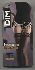NEUF DIM UP BAS AUTOFIXANT SEXY NOIR 15 DEN TAILLE 3 FASCINATION STOCKINGS