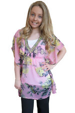 Womens Neon Rose Kaftan Boutique Ladies Sequin Beaded Crinkle Chiffon Cover Up