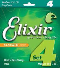 Elixir 14102 Nanoweb Medium Nickel Plated Steel Electric Bass Strings 50-105