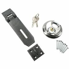 70MM HEAVY DUTY SECURITY DISC LOCK HASP & STAPLE SET DISCUS ROUND PADLOCK 2 KEYS