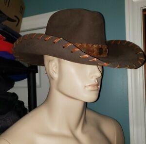 Bullhide Hawthorne 0372CH wool brown woven leather cowboy hat M western mens