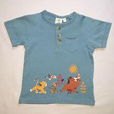 DISNEY t-shirt bébé SIMBA le roi lion bleu taille 9 mois col tunisien