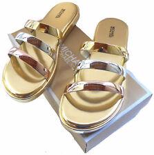Michael Kors Sandals Gold/Silver Keiko Slides Women's Size 10 (40)