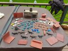 Vintage Marx Fort Apache With Extras Buildings Walls Cowboys Indians Blue Yellow