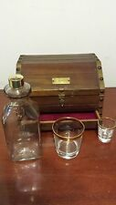 VTG Wood  LARGE Wooden Treasure Chest Decanter GOLD trimmed glasses shot JAPAN