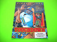 Gottlieb Premier TOUCHDOWN Original 1984 Flipper Game Pinball Machine Flyer