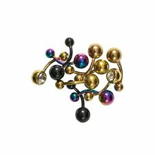 Lot of 10 Belly Button Rings 14G Ion Plated Surgical Steel