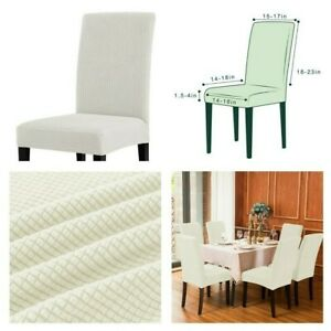 New, Soft & Stretch Textured Check Dining Chair Slipcover (Set of 4) White Color