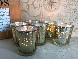 Set of 6 Fluted Tea Light Holders Gold Mercury Glass Candle Wedding Decoration