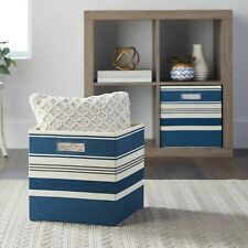 Better Homes & Gardens Fabric Cube Storage Bins, Set of 2, Indigo Stripe