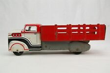 Marx Stake Bed Delivery Truck Red White Tin