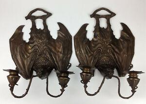 William Tonks for Liberty- Pair Antique Bronze Bat Wall Sconces Victorian Gothic