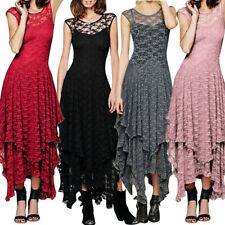 New Women Boho Irregular Lace Sexy Double Layered Ruffled Trimming Long Dress UK