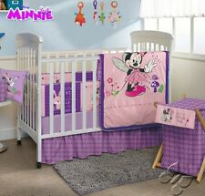 Disney Minnie Mouse New Baby Girls Purple Pink Nursery Crib Bedding Set 9 Pieces