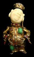 "Rare Vtg 2-1/2"" Signed HAR Goldtone Jeweled Buddha Asian China Man Brooch Pin A1"