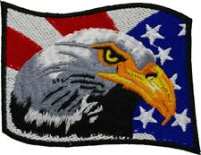 BALD EAGLE AMERICAN FLAG iron-on EMBROIDERED PATCH USA PATRIOTIC