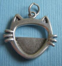 Cat face photo picture frame sterling charm