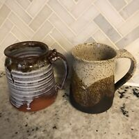 Two Handmade Hand Thrown Artisan Pottery Mugs Rustic Earth Tones Speckled Signed