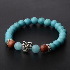 Mens Spot Natural Lava Stone Gold Silver Owl 8MM Beaded Charm Bracelet 7.5''