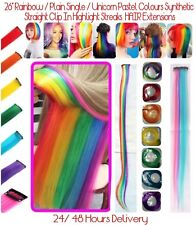 "26""  Rainbow Colour / DIY Clip  - In Hair Extensions 24 Hours Delivery UK Stock"