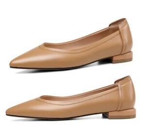 Women's Smart Business Pointy Toe Flats Heel Casual Comfort Ballet Shoes 34-43 L