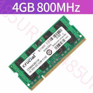 4GB Module PC2-6400 DDR2-800MHz 200Pin SODIMM RAM For Crucial CT25664AC800.Y16F