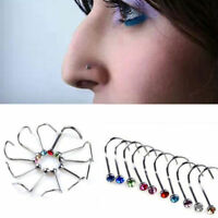 10 Pcs Set Rhinestone Surgical Steel Screw Nose Hoop Ring Body Piercing Jewelry