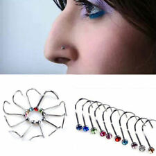 10 Pcs Rhinestone Surgical Steel Screw Nose Hoop Ring Stud Body Piercing Jewelry