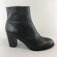 & Other Stories Black Leather Ankle Zip Up Heeled Booties Boots Size 39 UK6