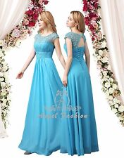 Turquoise Blue M03 Long Maxi Evening Bridesmaid Formal Party Prom Dress UK 8-24