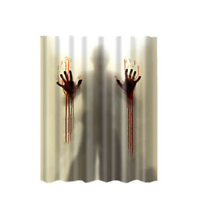 Fabric Shower Curtain Scary Hand Waterproof Bathroom Drapes Divider Panel