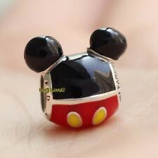 925 Sterling Silver Disne Mickey Mouse Playful Icon Enamel Bead Charm F Bracelet