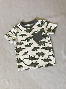 Carter's Toddler Boy Size 3T Short Sleeved Green White T Shirt Dinosaurs