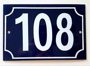 Vintage French house number 108 Enamel door sign
