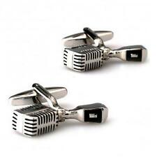 VINTAGE MICROPHONE CUFFLINKS Singer Broadcaster NEW w GIFT BAG Groom Wedding