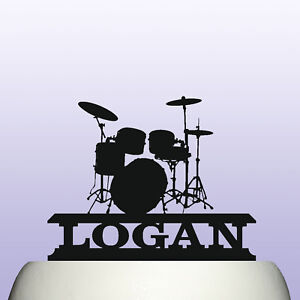 Personalised Acrylic Drum Kit Percussion Instrument Birthday Cake Topper