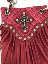 Bag Crossbody Beaded Cross Silver Chain Fringes  Hot Pink Phone Designer Fashion