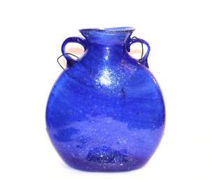 Art Glass Vase Beautiful Decorative Blown Blue Green Brown Outdoor Window Gift