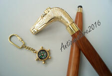 """36"""" Wood Walking Cane Brass Horse Handle With Free Key Chain Best Gift Item"""