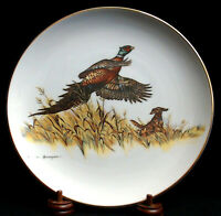 """CLARK BRONSON Limited Edition 10.5"""" Collector's Plate PHEASANT & SETTER"""