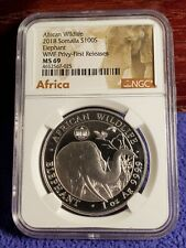 "2018 SOMALIA 100s AFRICAN ELEPHANT ""WMF PRIVY"" 1 OZ. .999 SILVER COIN NGC MS 69"