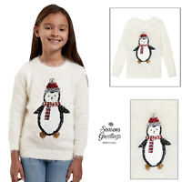 Girls Pretty Penguin Novelty Sequin Christmas Jumper Kids Festive Xmas Sweater