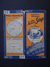 Carte MICHELIN old map NIORT CHATEAUROUX POITIERS 1935 n° 68 Bibendum pneu tyre