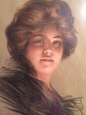 Framed Original Art Nouveau Print Signed Philip Boileau 1905 Pretty Woman