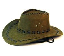 6 GREEN LEATHER COWBOY HAT mens hats western wear head BULK LOT HEADWEAR CAPS