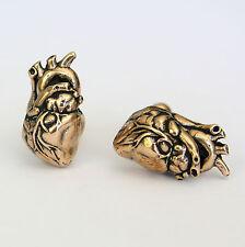 Anatomical Human Heart Cuff links Solid Bronze Heart Cufflinks Goth 165