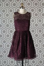 NWT Alice & Olivia Ophelia Shimmery Lace Dress 8 Plum $495