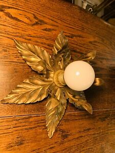 Maison Jansen Gold Wall Applique, Vintage French Designer Light 1970's