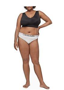 Calvin Klein Women's Plus Size Statement 1981 Thong Panty, WHITE , 3X