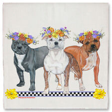 Staffordshire Bull Terrier Staffie Dog Floral Kitchen Dish Towel Pet Gift